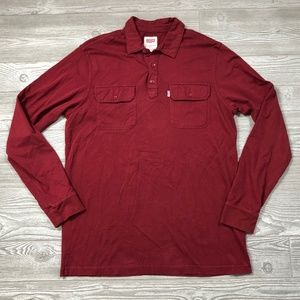 Levi's Red Long Sleeve Polo Shirt Men's L F78